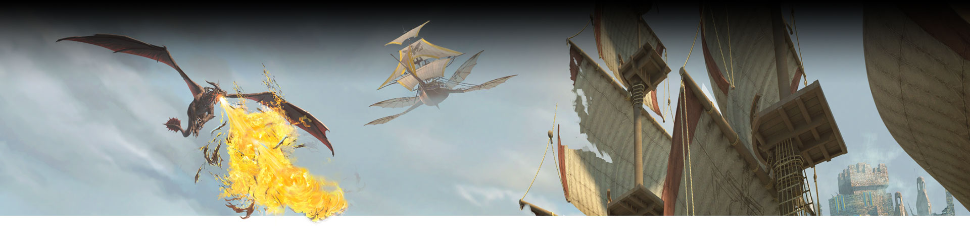 A flying pirate ship and flying dragon breathing fire