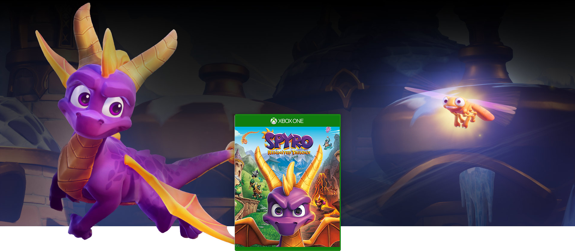 Spyro Reignited Trilogy boxshot with Spyro & Sparx flying