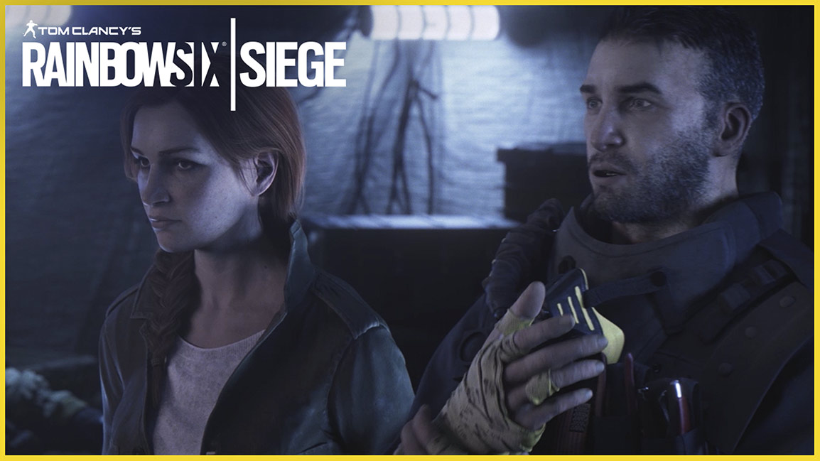 Tom Clancy's Rainbow Six Siege, Close up of a man and woman standing in a tent