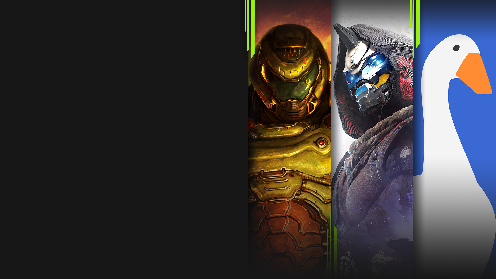 Game art from multiple games available with Xbox Game Pass including Doom Eternal, Destiny 2, and Untitled Goose Game.