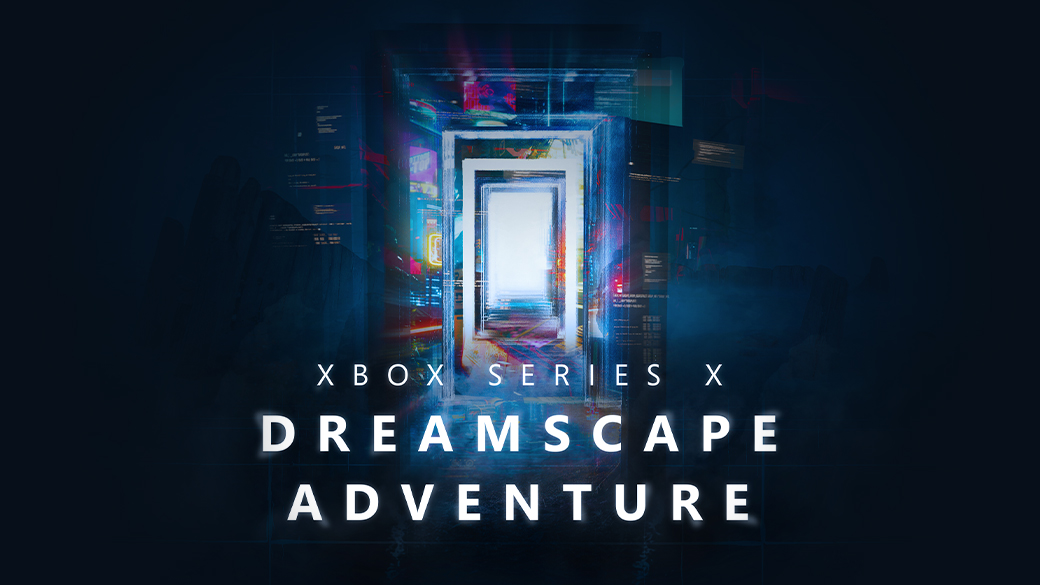 Xbox SeriesX Dreamscape Adventure. A door leading to other doors in a dream-like state. Some skyscrapers in the background.