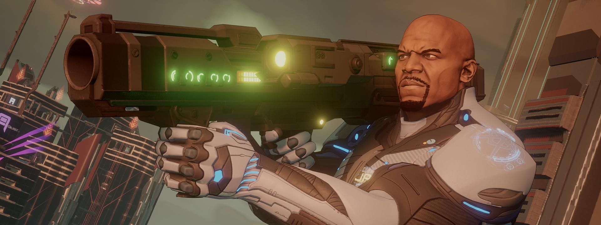 En agent som är redo att skjuta med ett vapen mot axeln
