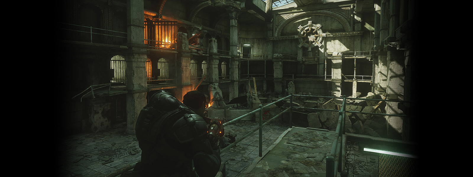 Remastered version scene with Marcus Fenix looking on a slab map interior