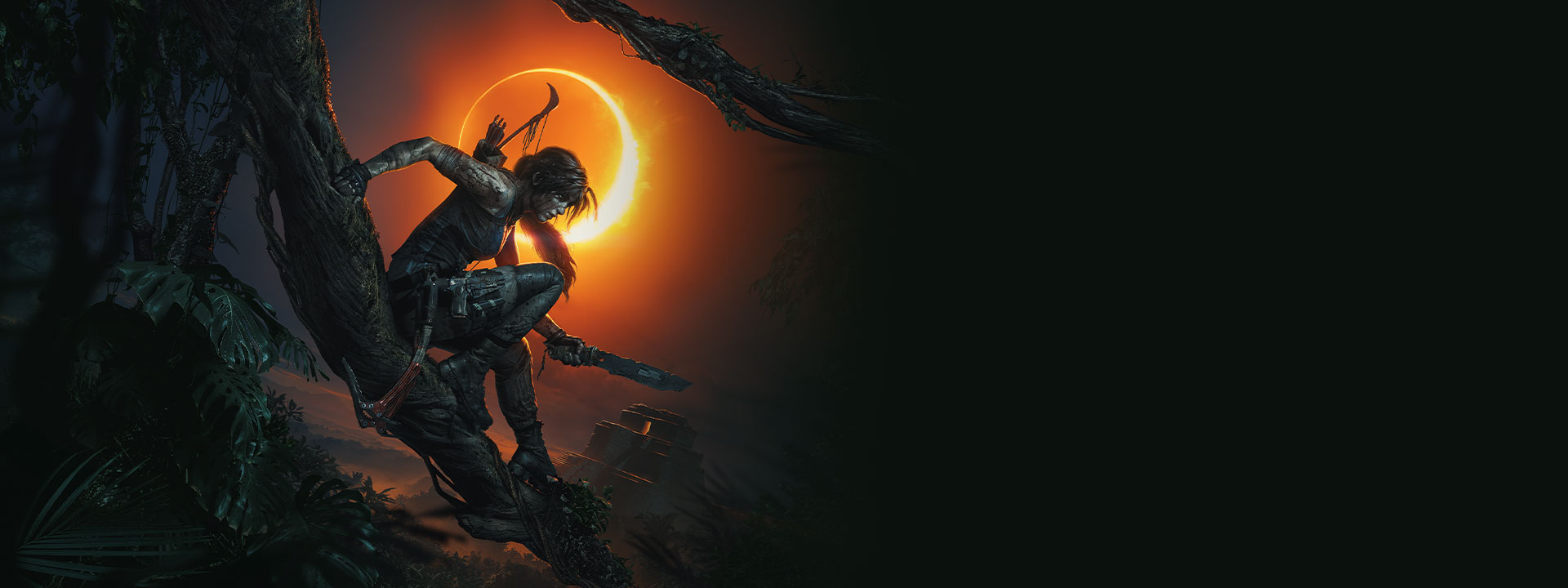 Lara Croft sits on a tree branch while holding a knife with an Eclipse in the background