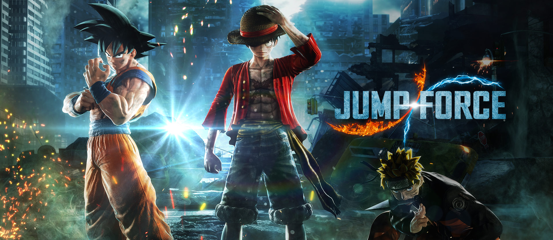 Jump Force, Goku, Monkey D. Luffy, and Naruto prepare to fight in the real world