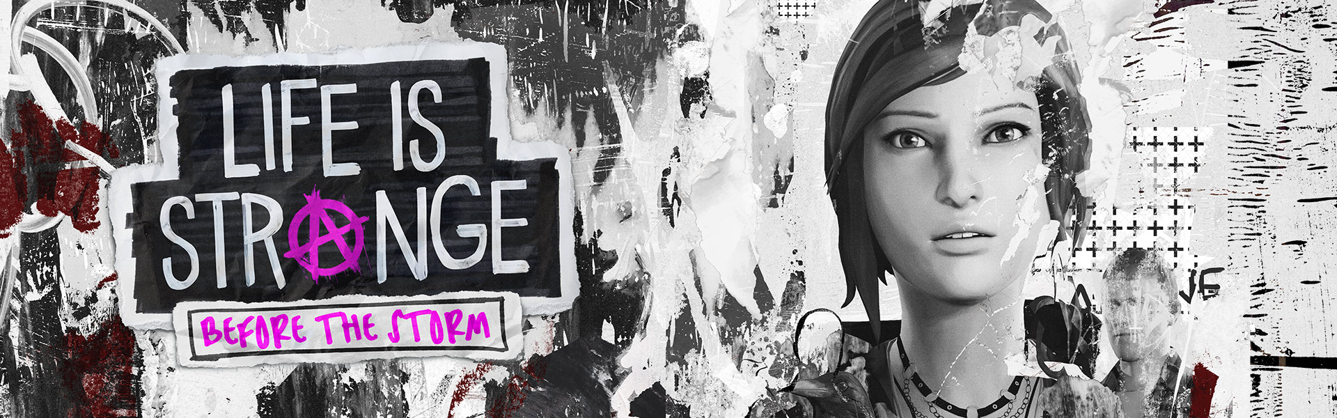 Life is Strange: Before the Storm Primo piano di Chloe con un collage rovinato sullo sfondo.