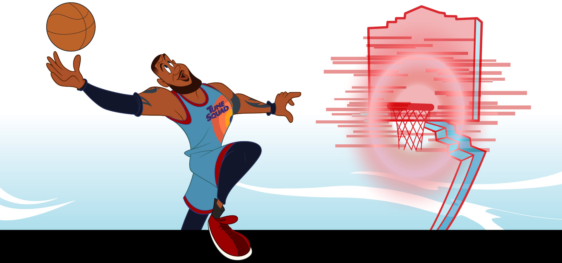 Cartoon Lebron James wearing a Tune Squad jersey, dunking a basketball