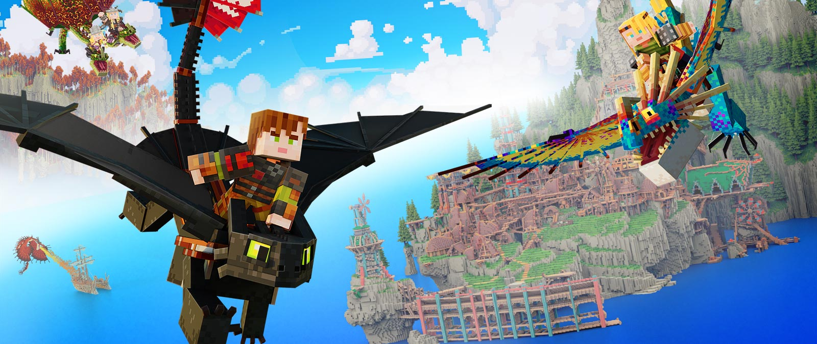 How to Train Your Dragon. Characters on dragons flying above water away from a town on an edge of a cliff