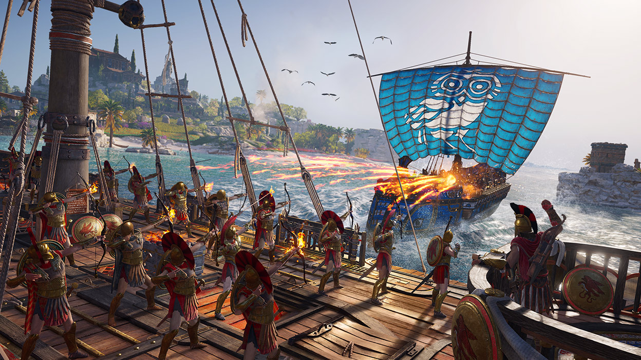 Greek archers on the deck of a ship shoot flaming arrows at another ship