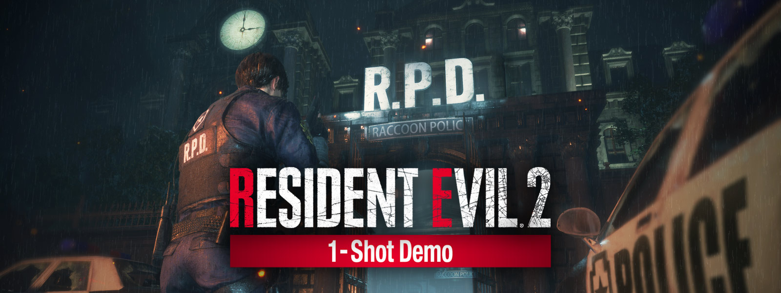 Resident Evil 2 1-shot demo, Leon Kennedy stands at the entrance to the Raccoon City Police Department