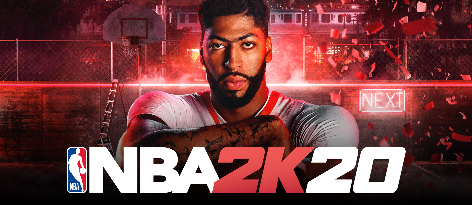 NBA logo, NBA 2K20 logo, front view of Anthony Davis in front of a red hued background with a basketball hoop, light-up Next sign and confetti