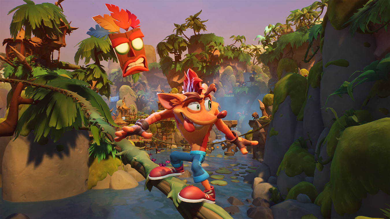 update main gallery with image: Crash slides along a jungle branch in Crash Bandicoot 4.