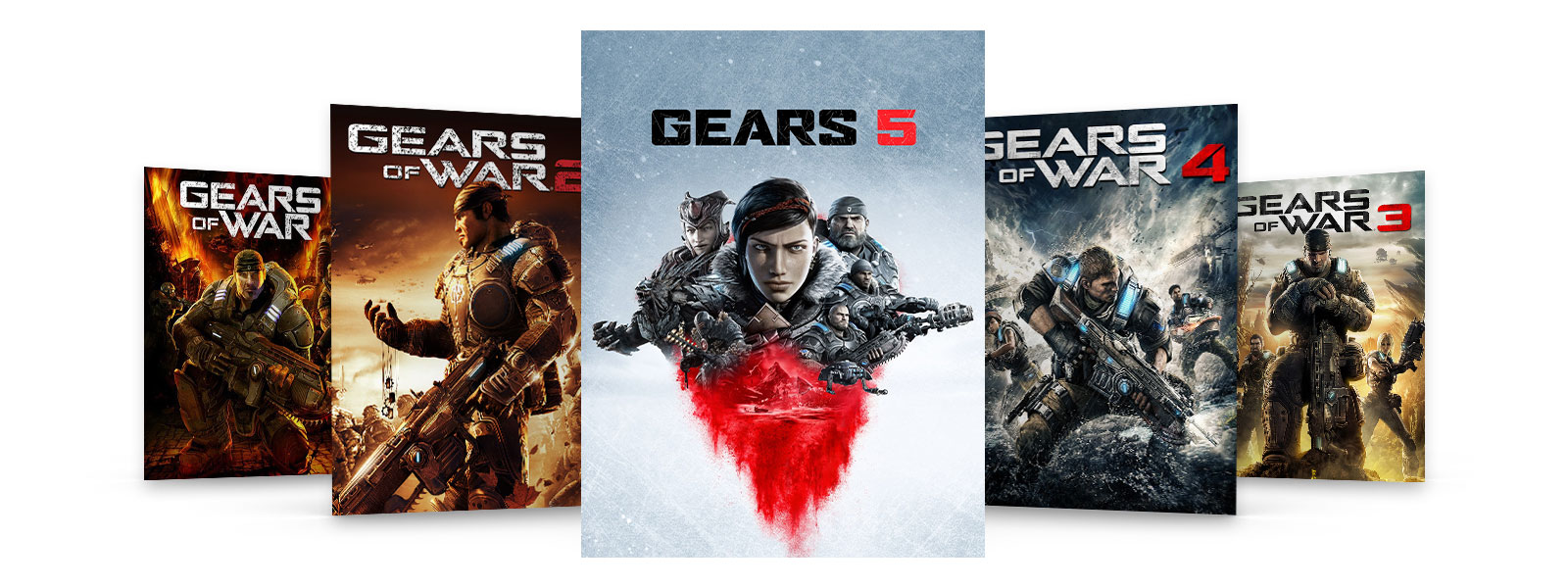 Box art of Gears of War 5 and Gears 2, 3, and 4.