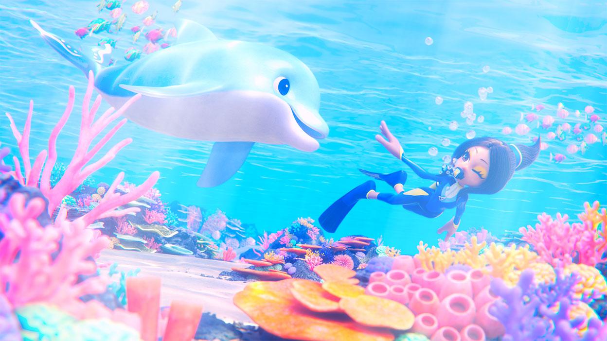 Ein Charakter schwimmt mit einem Delphin über einem belebten Meeresboden.