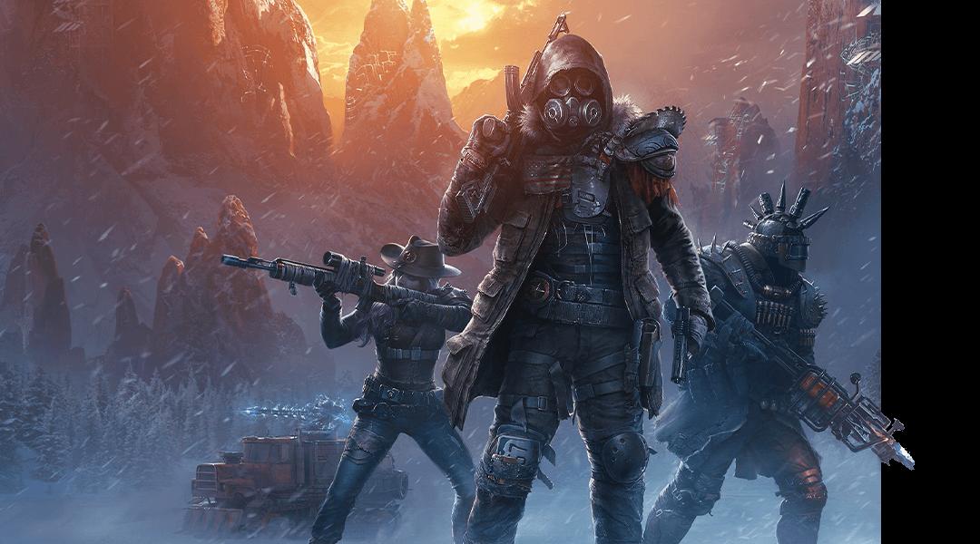 Wasteland3, personnages lourdement armés dans une tempête de neige nocturne