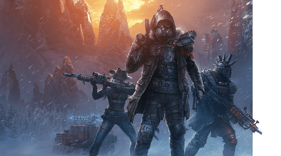 Wasteland 3 夜の吹雪の中で重武装したキャラクター