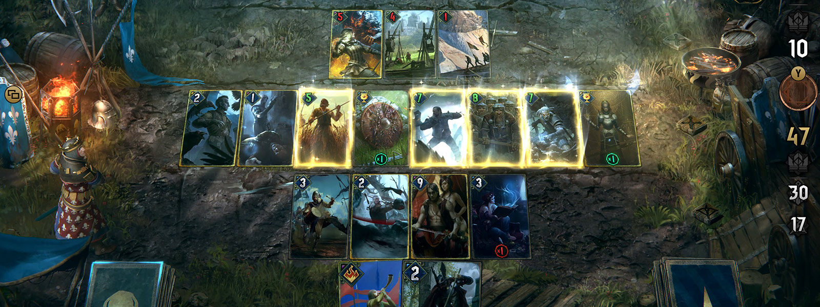 Multiple cards are highlighted during a battle screen