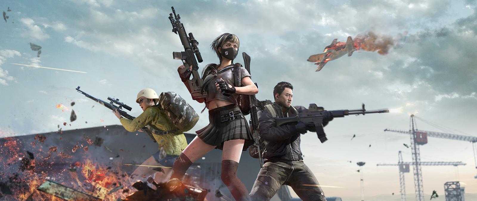 세 명의 캐릭터가 추락하는 비행기 아래에서 전장의 총성에 둘러싸여 있습니다.