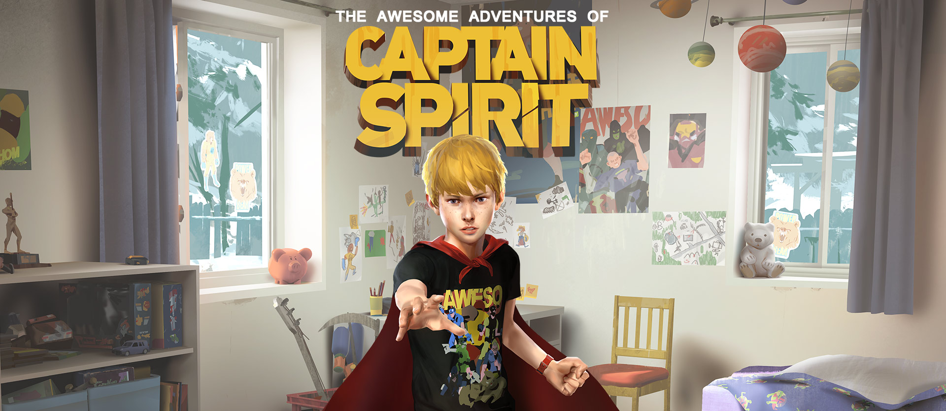 The Awesome Adventures of Captain Spirit, 9-year-old Chris stands in his room dressed as his altar ego Captain Spirit