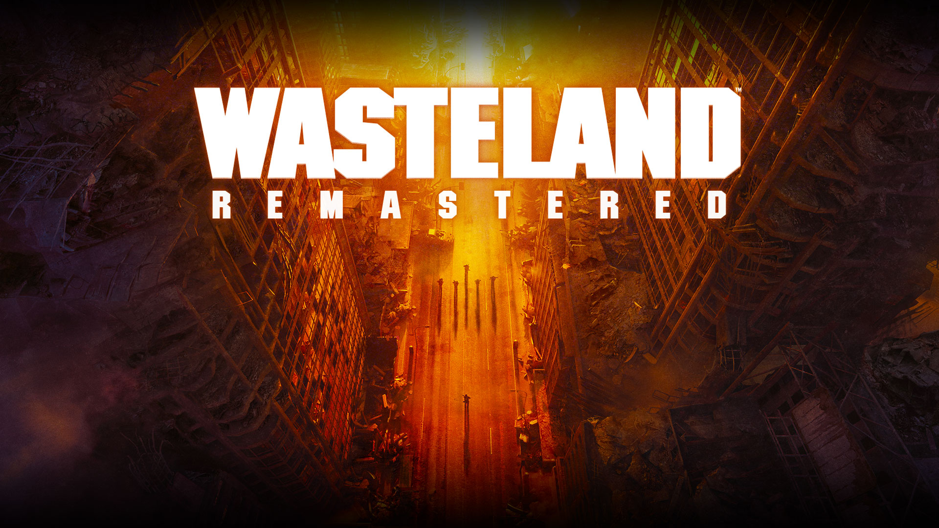 Wasteland Remastered, top view of ruined buildings and people on the street in yellow, orange and red hues