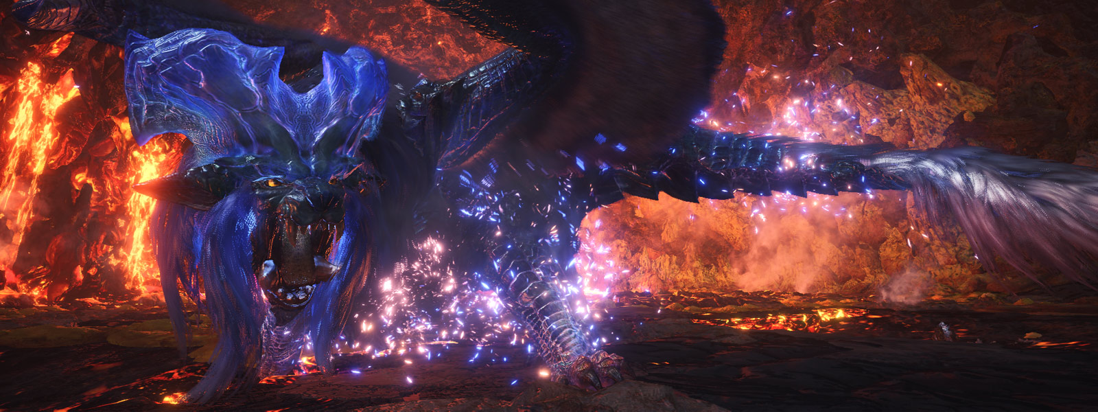 Side view of Arch Tempered Lunastra as it roars in the Elder's Recess