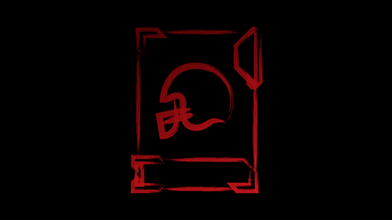 Red sketch of an American football helmet on a card
