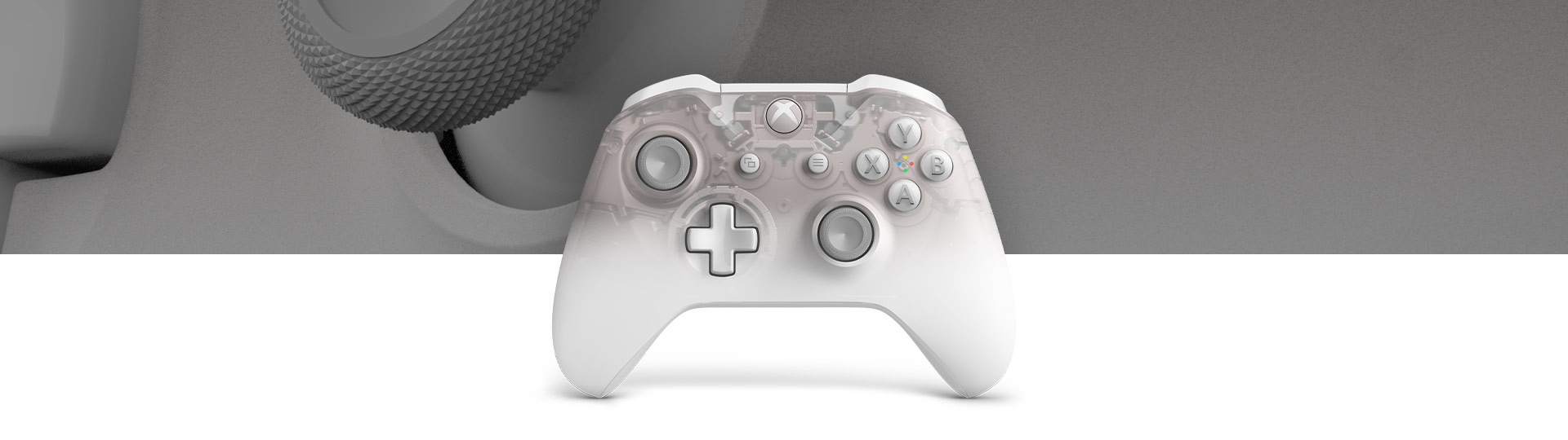 Front view of xbox wireless phantom white controller with a close-up of phantom white controller surface texture