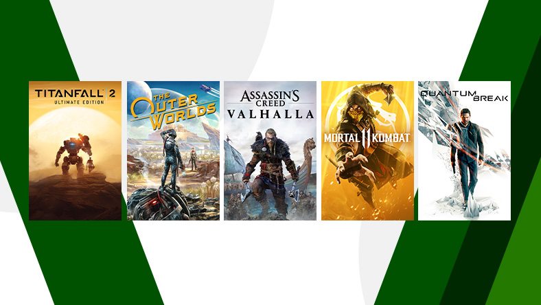 A collection of games that are part of the Achievement Enthusiast Sale, including, Assassin's Creed Valhalla, Quantum Break, and The Outer Worlds.