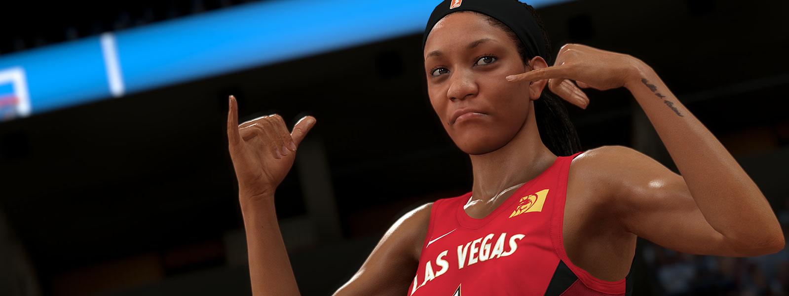Pózujúci hráč z tímu Las Vegas WNBA