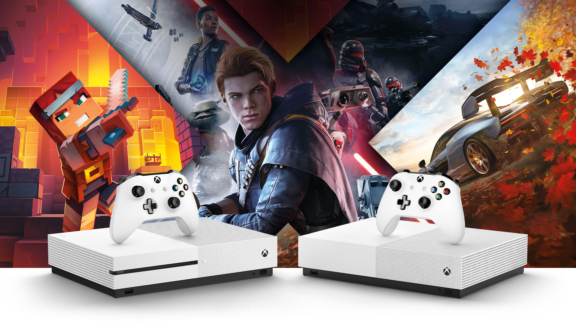 Vista frontal do Xbox One S e do Xbox One S All Digital Edition cercado pela arte do Minecraft, Forza Horizon 4, Star Wars Jedi Fallen Order