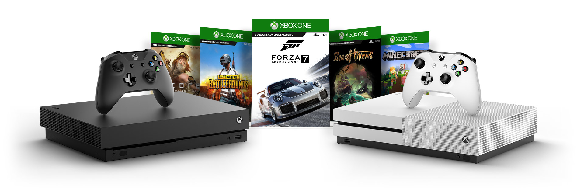Pakkauksien kansia peleistä State of Decay 2, Player Unknown's Battlegrounds, Forza 7, Sea of Thieves ja Cuphead Xbox One X- ja Xbox One S -konsolien taustalla