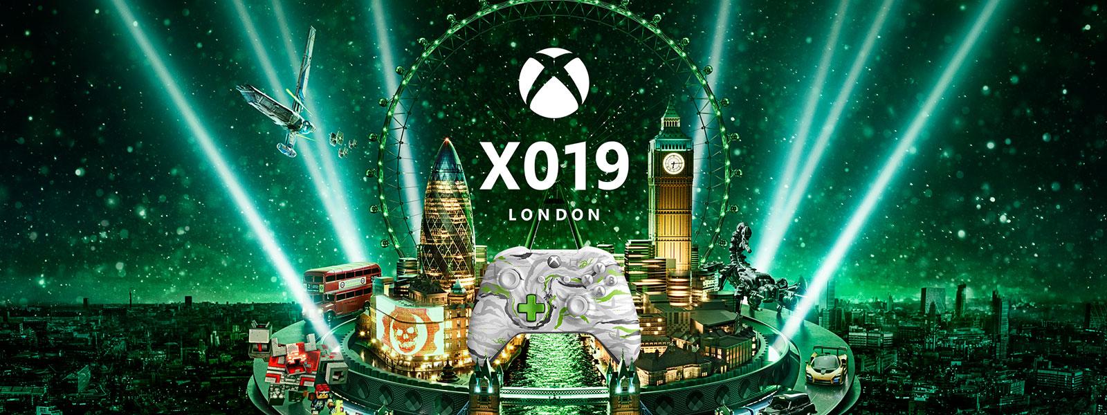 X019 logo, the london skyline lit up in xbox green