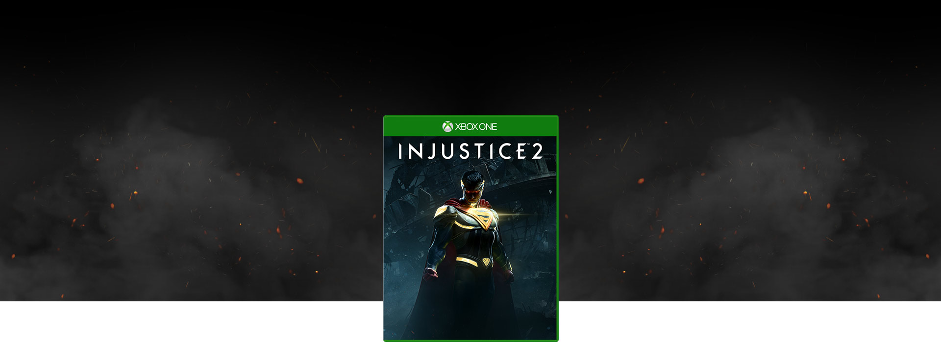 Boxshot of Injustice 2, on a dark smoky background with red embers