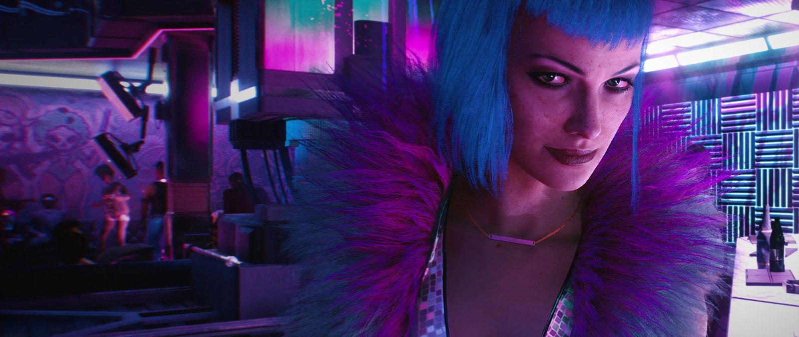 A woman smirks in a brightly lit neon club