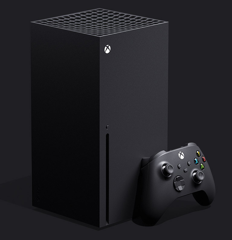 Xbox Series X console with Xbox controller.