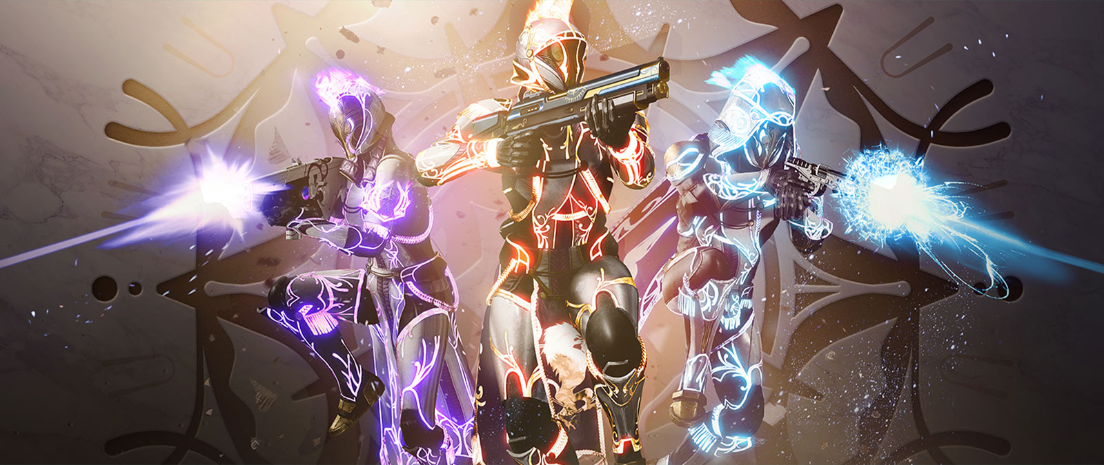 Three Guardians glowing with different colors of energy are poised for firearm combat.