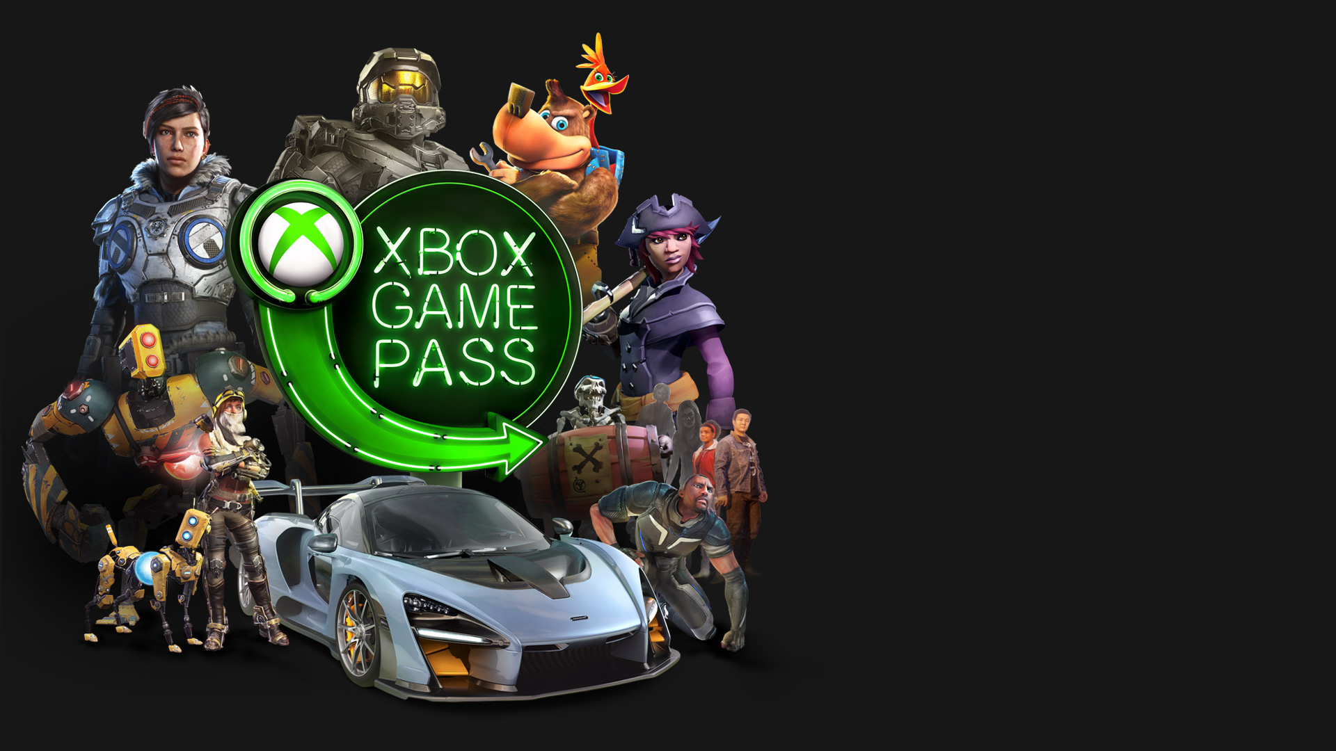 A variety of video game characters surrounding the Xbox Game Pass logo in green neon