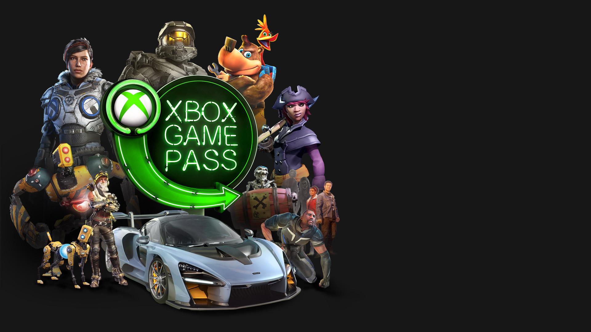 Skupina různých herní postav obklopujících logo Xbox Game Pass v zeleném neonu