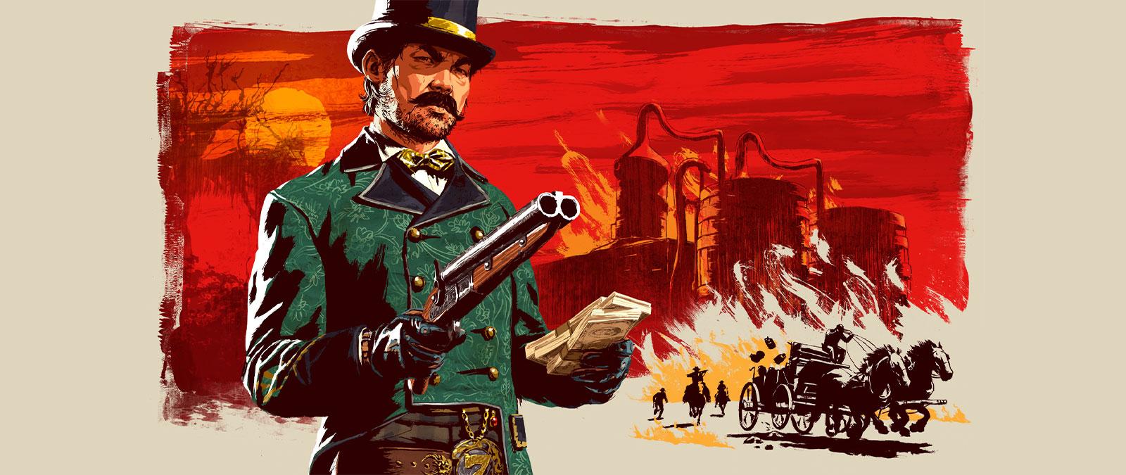 Red Dead Online, Moonshiners, Um homem sinistro segura uma arma na mão e um maço de notas na outra, fundo estilizado com uma destilaria ilegal e uma perseguição com carroças.
