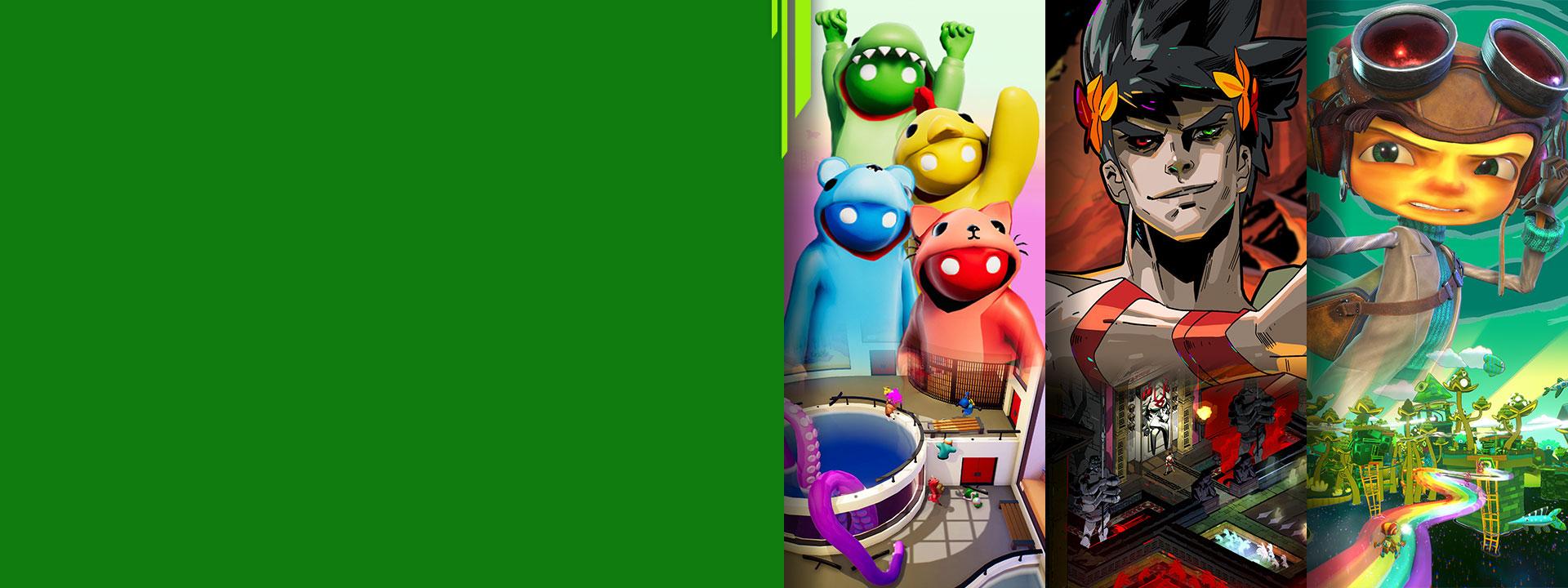 Vista frontal de diferentes personajes de los juegos de Xbox Gang Beasts, Hades y Psychonauts 2.
