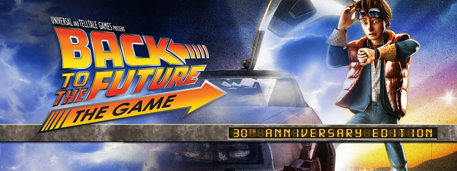 Marty McFly from Back to the future with a delorean