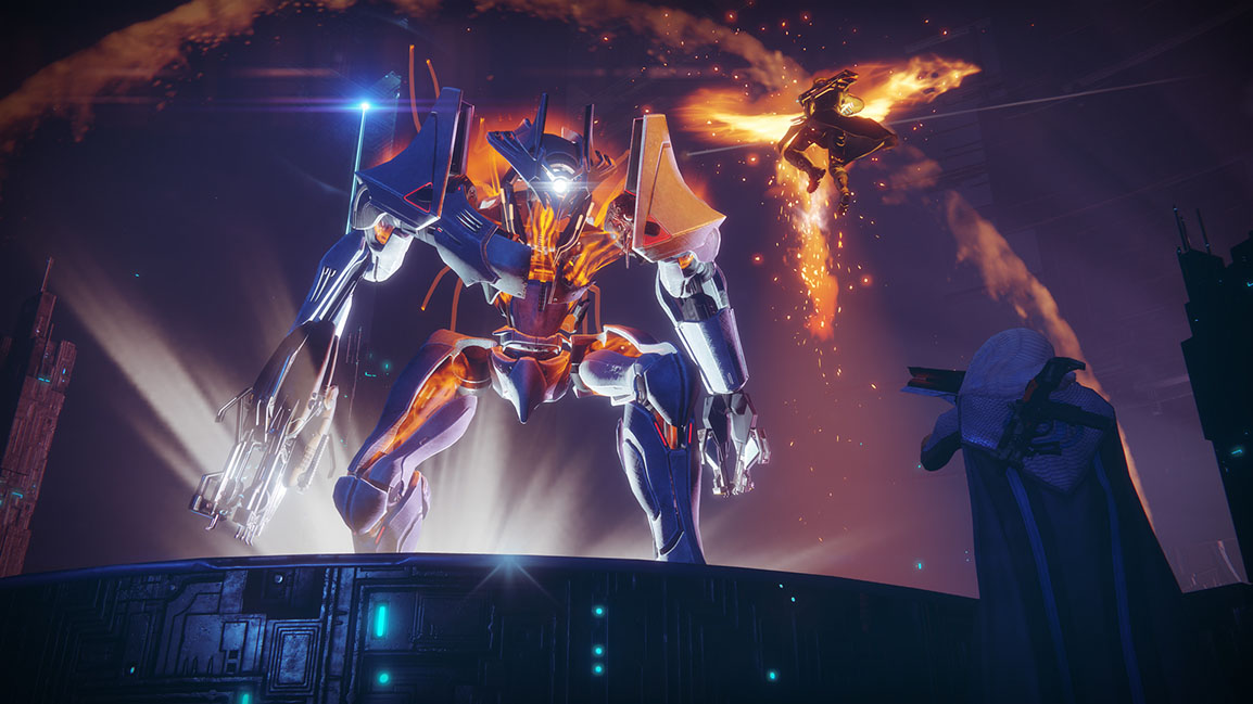 Two guardians fight the Inverted Spire Strike boss