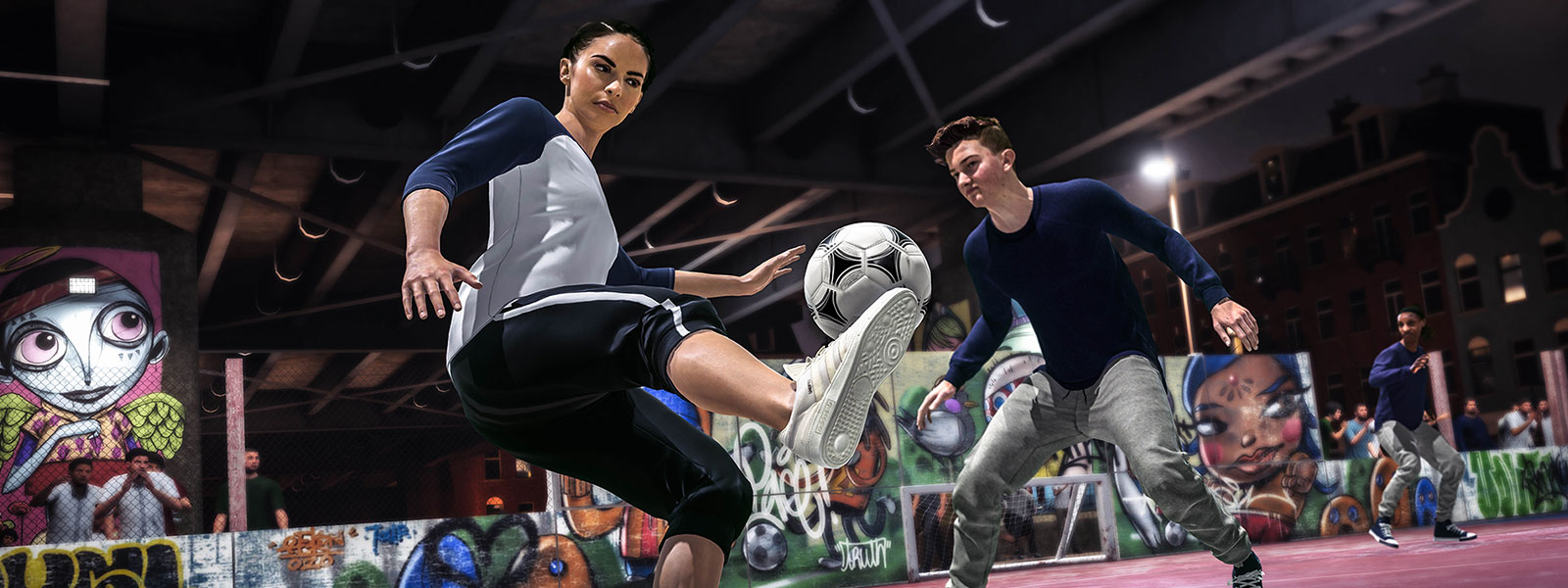 Two characters playing street soccer