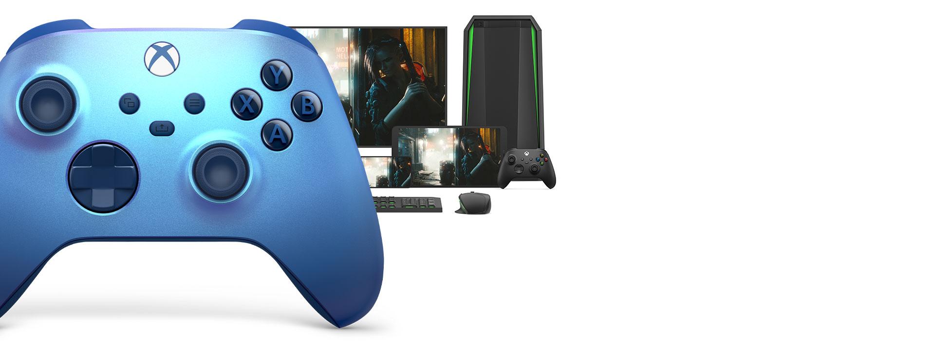 Bezdrátový ovladač pro Xbox Aqua Shift s počítačem, televizí a zařízením Xbox SeriesS.