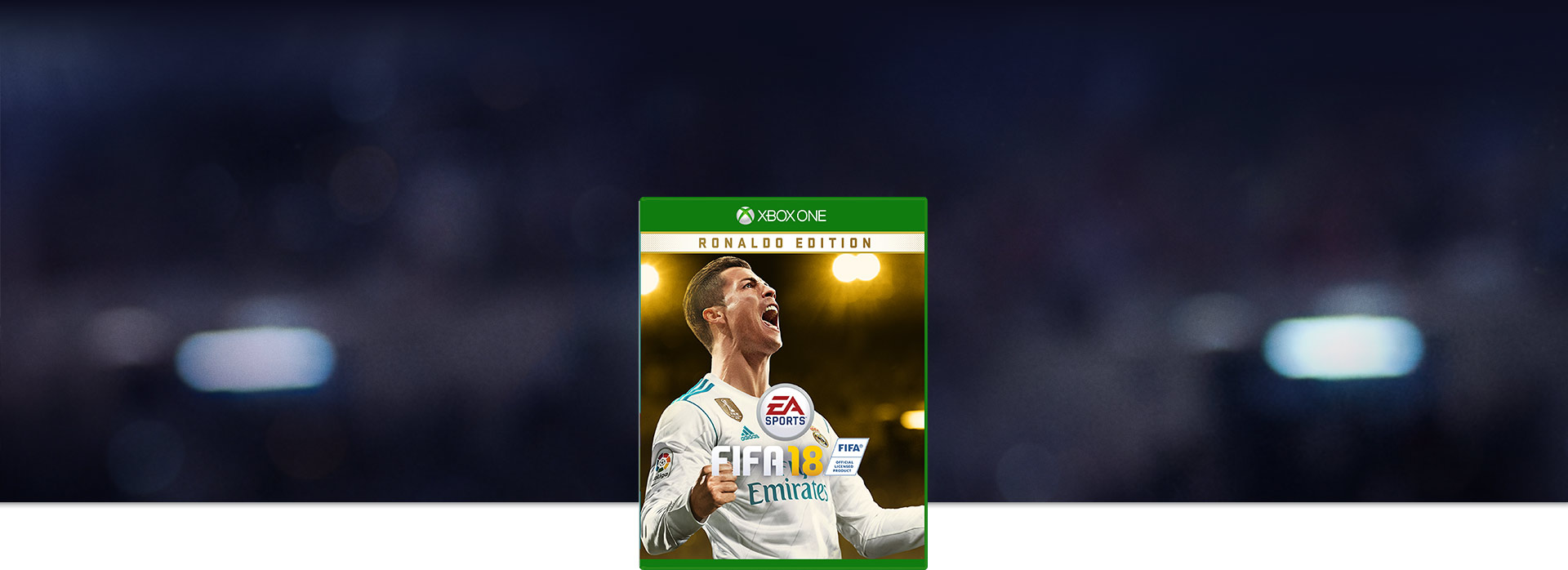 Boxshot του FIFA 18, θολή άποψη των προβολέων του σταδίου