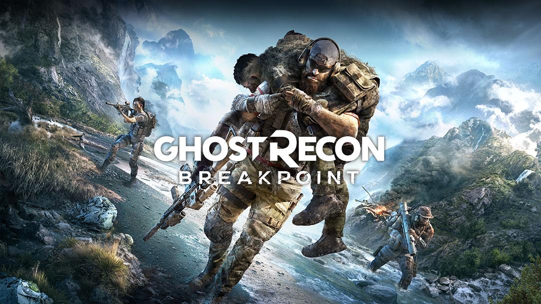 Tom Clancy's Ghost Recon Breakpoint. A personagem principal a transportar outra pessoa aos ombros com duas outras pessoas em plano de fundo a efetuarem o reconhecimento da área com equipamento militar