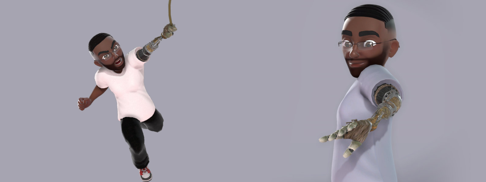 One Xbox avatar character looks at his Prosthetic Arm and the other swings from the arm