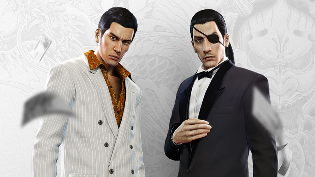 Two Yakuza characters in fancy suits stare as money falls around them, with a white and grey dragon tattoo background
