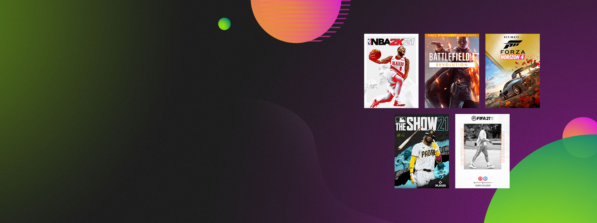 Box shots from games that are part of the Ultimate Game Sale, including NBA 2K21 and Forza Horizon 4 Ultimate.
