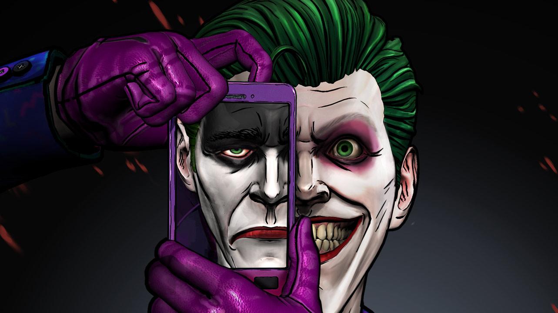 Veselý Joker fotí selfie na svém telefonu. V telefonu se objevuje obraz smutného Jokera.
